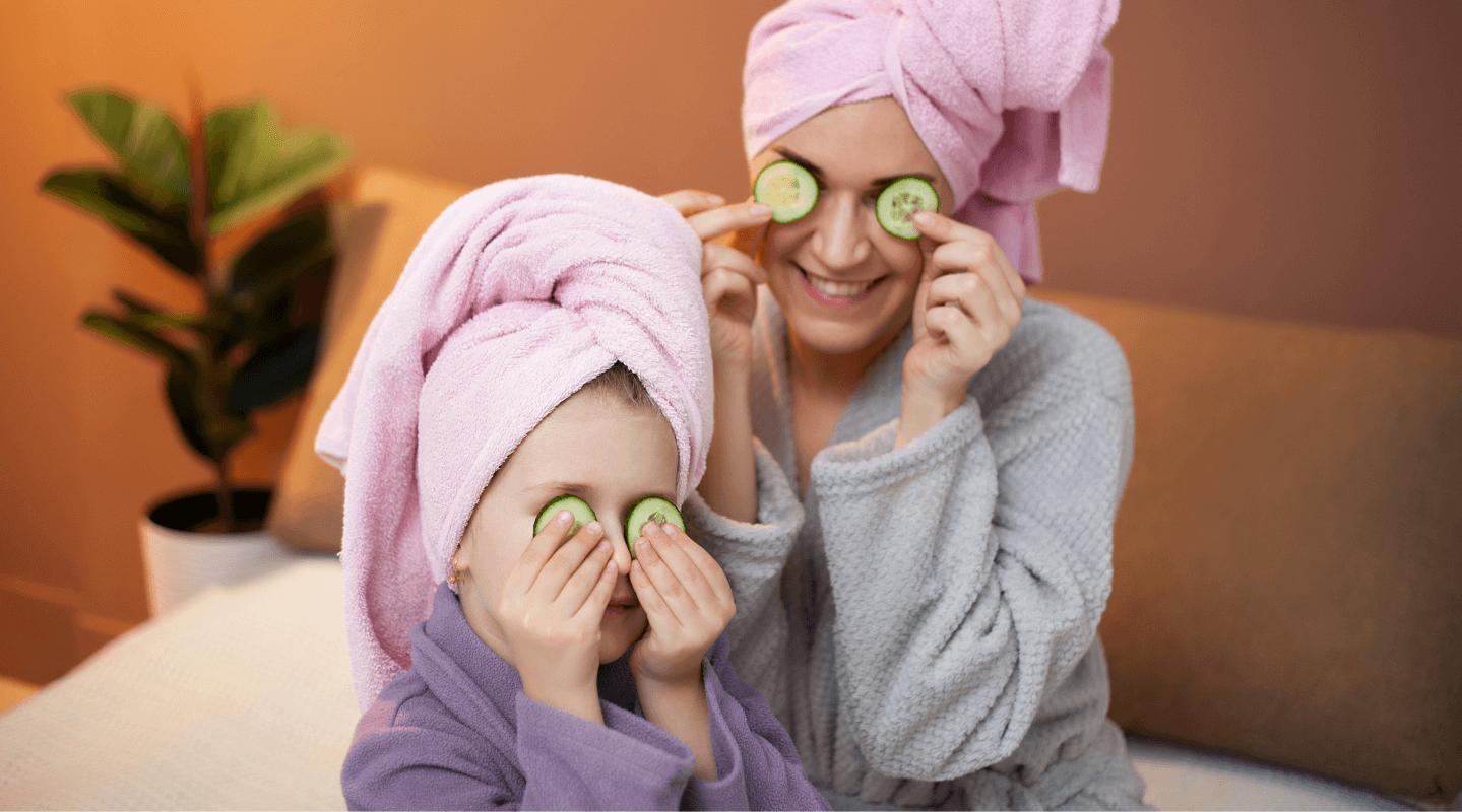 Mom and daughter facial spa wellness